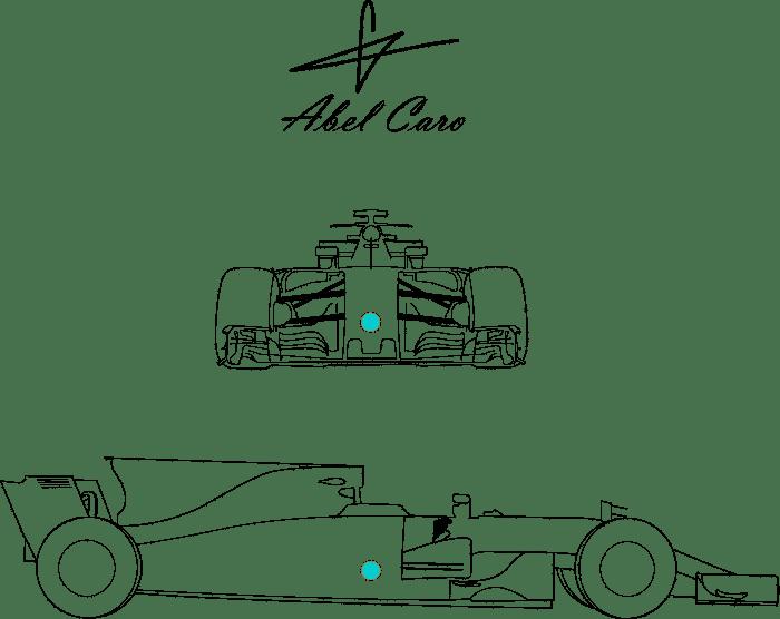 centro de gravedad de coche F1